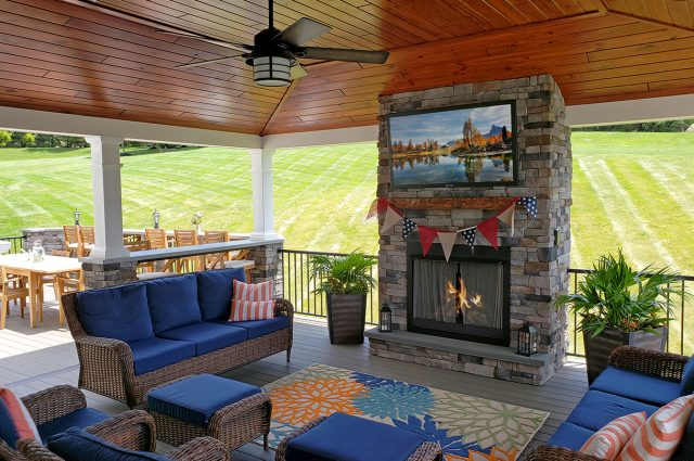 Kielinski - timbertech silver maple deck and porch with tv and fireplace