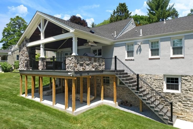 Custom Amazon Mist TimberTech Deck / Heritage Porch – Bryn Mawr, PA