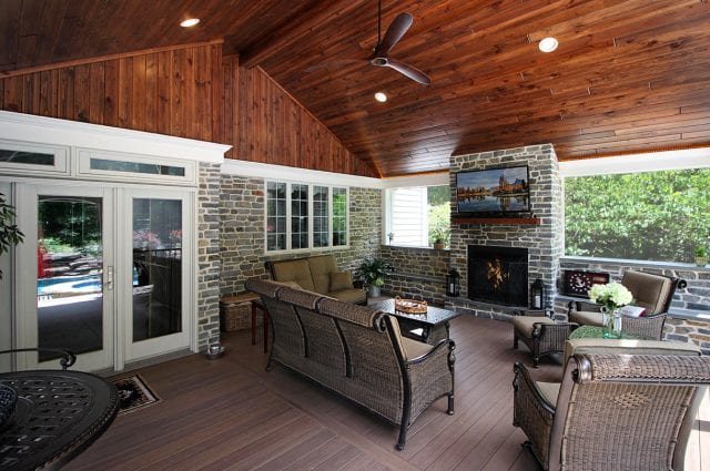 News - timbertech pecan deck and porch with pinewood ceiling