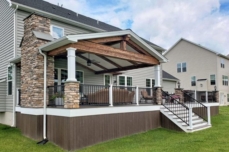 Custom Mocha TimberTech Deck / Barnwood Porch – West Chester, PA