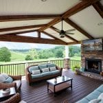 Osifat - timbertech mocha deck and porch with barnwood and pvc ceiling