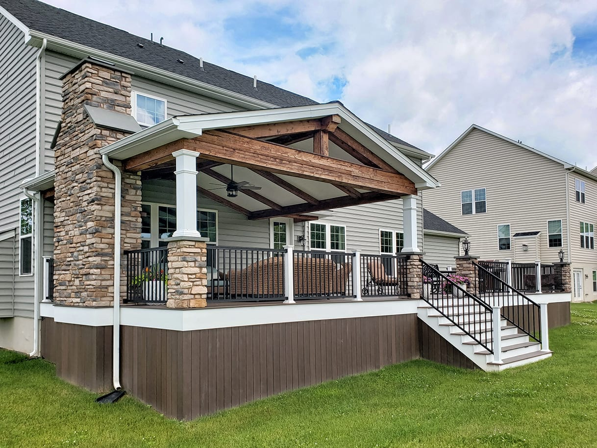 Custom Mocha TimberTech Deck / Barnwood Porch - West Chester, PA 1
