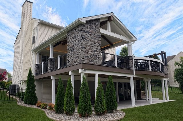 Zook - timbertech pecan deck and porch with post and beam wrap