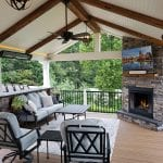 Zook - timbertech pecan deck with barnwood beams