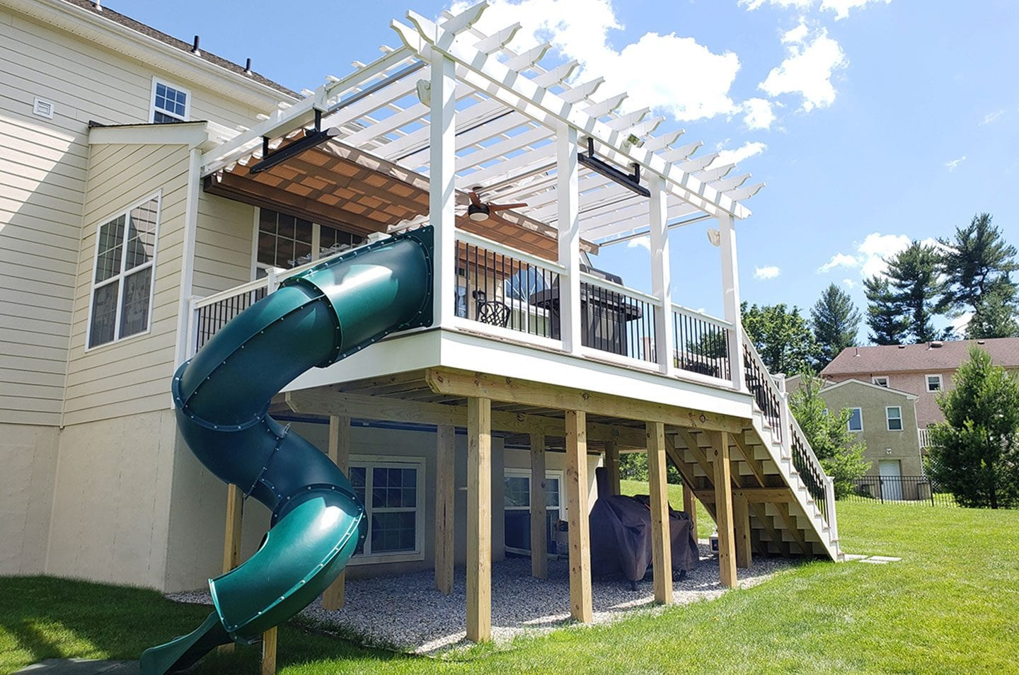 deck project with built in slide