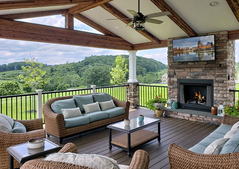outdoor television deck trend