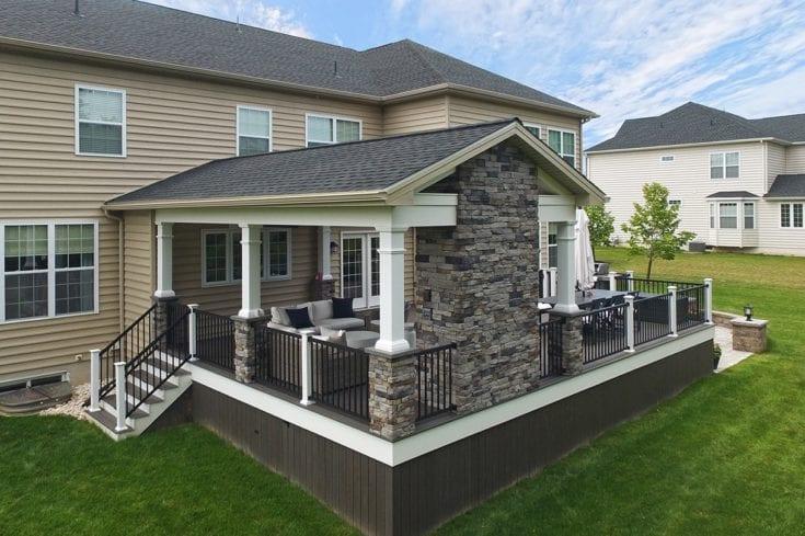Custom Espresso TimberTech Deck / Barnwood Porch – Lansdale, PA