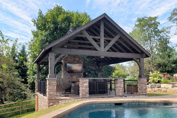Custom Pecan TimberTech Deck / Stonework Pavilion – Collegeville, PA