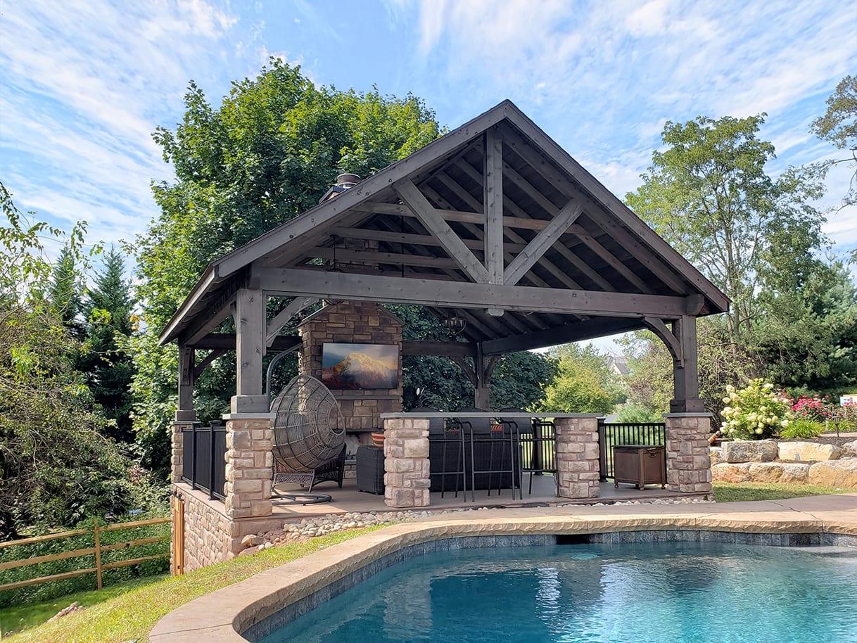 Custom Pecan TimberTech Deck / Stonework Pavilion - Collegeville, PA 1