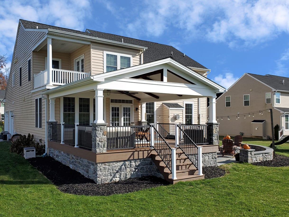 Custom TimbeTech Deck / Barnwood Porch / Flagstone Patio - Avondale, PA 1