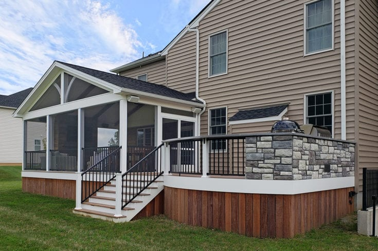 Custom Cumaru Hardwood Deck / Screened Barnwood Porch – Yardley, PA