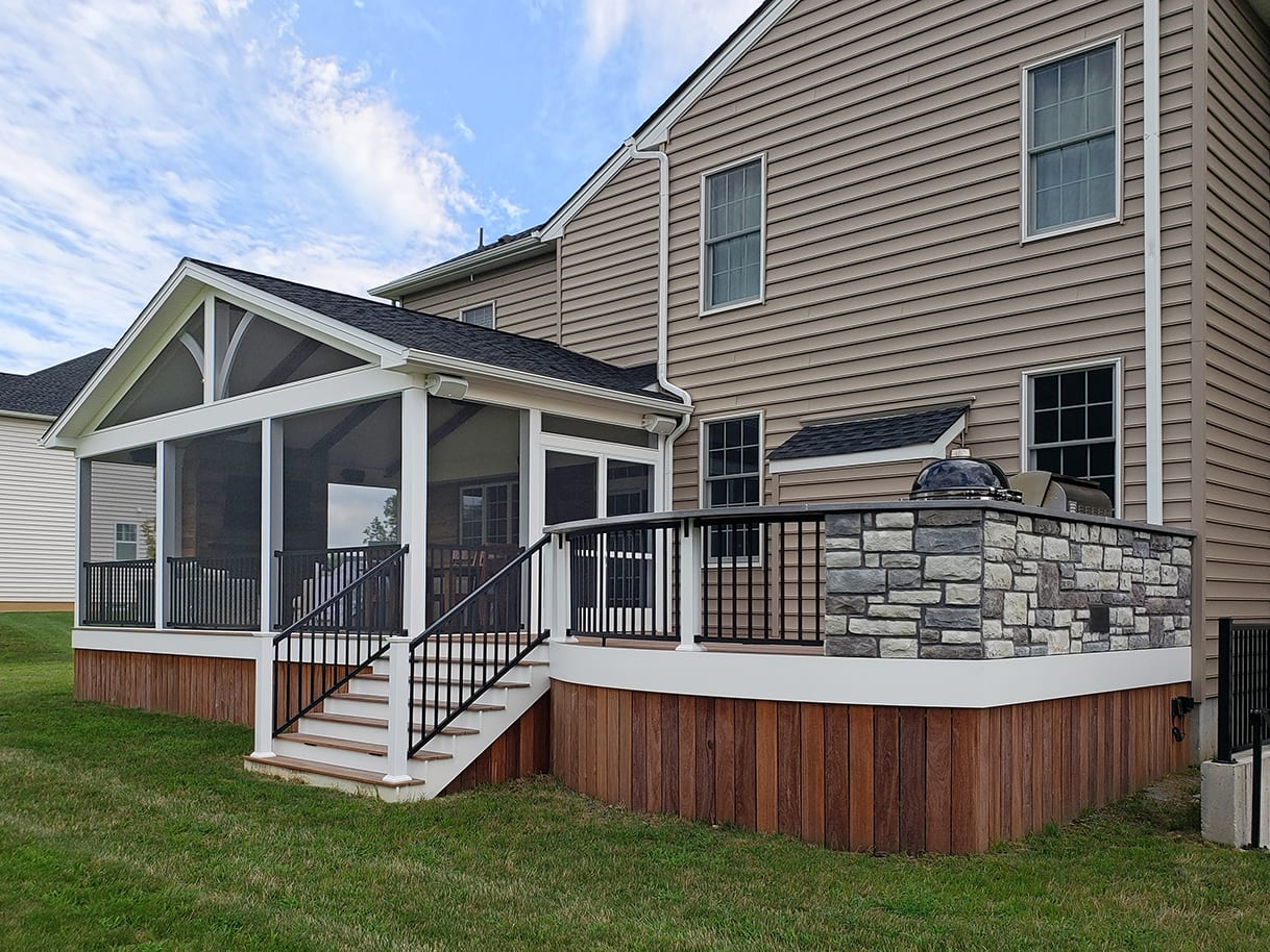 Custom Cumaru Hardwood Deck / Screened Barnwood Porch - Yardley, PA 1