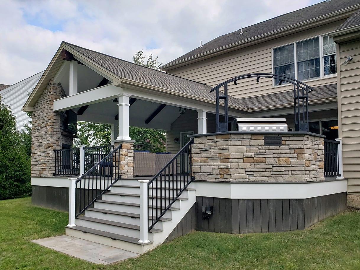 Espresso TimberTech Deck / Barnwood Porch - Newtown, PA 1