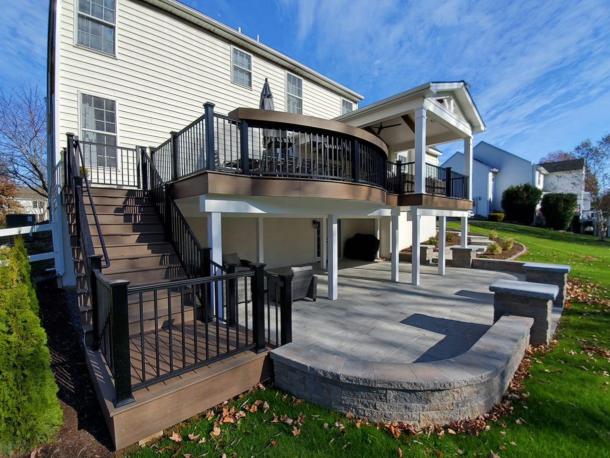 TimberTech Deck / Barnwood Porch / Techo-Bloc Patio – Garnet Valley, PA 1