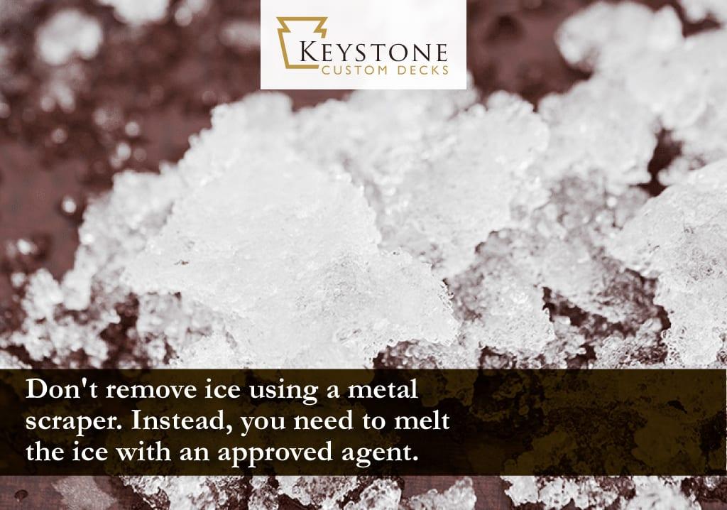 don't remove ice using a metal scraper