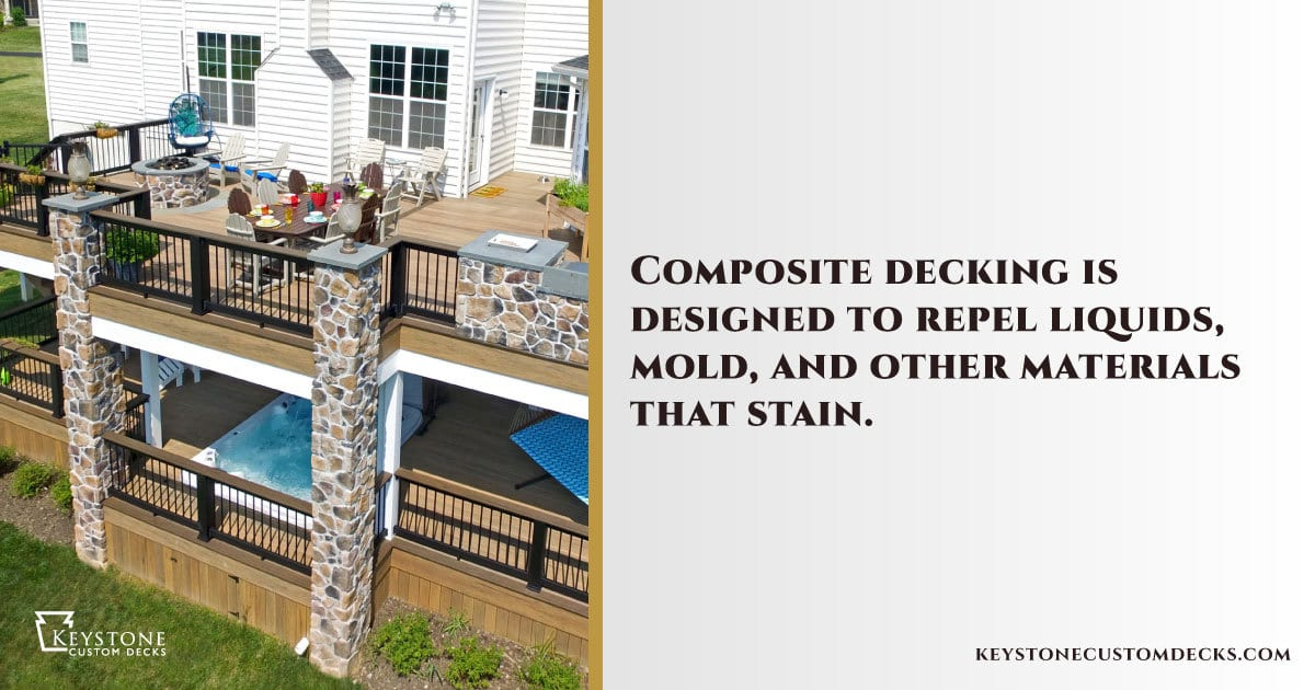 composite decking is designed to repel liquids and mold