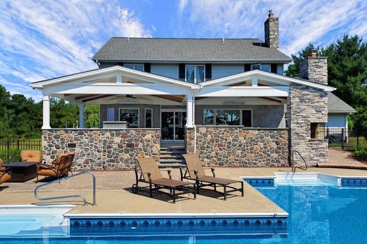 Custom Barnwood and Skylight Porch / Blu Ice Flagstone Patio – Coopersburg, PA