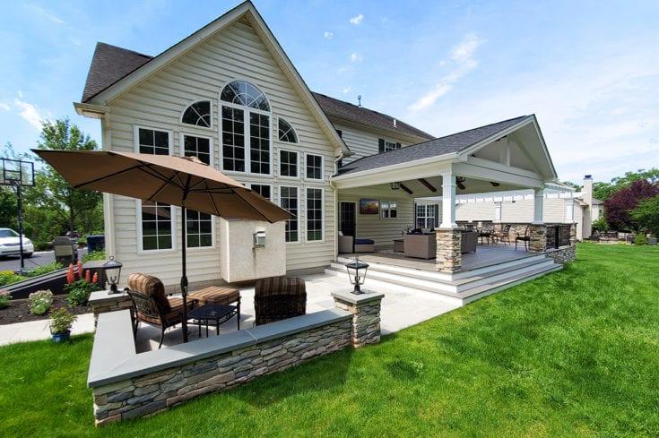 Barnwood Porch / TimberTech Deck / Flagstone Patio – Royersford, PA