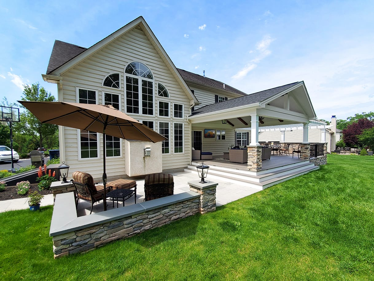 Barnwood Porch / TimberTech Deck / Flagstone Patio - Royersford, PA 1