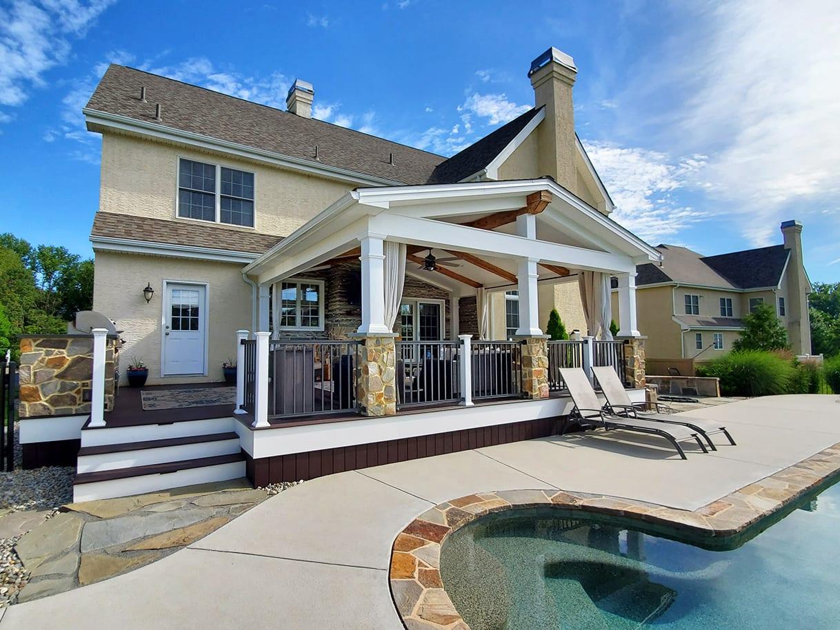 Poolside Barnwood Porch / Woodland Brown Trex Deck - Avondale, PA 1