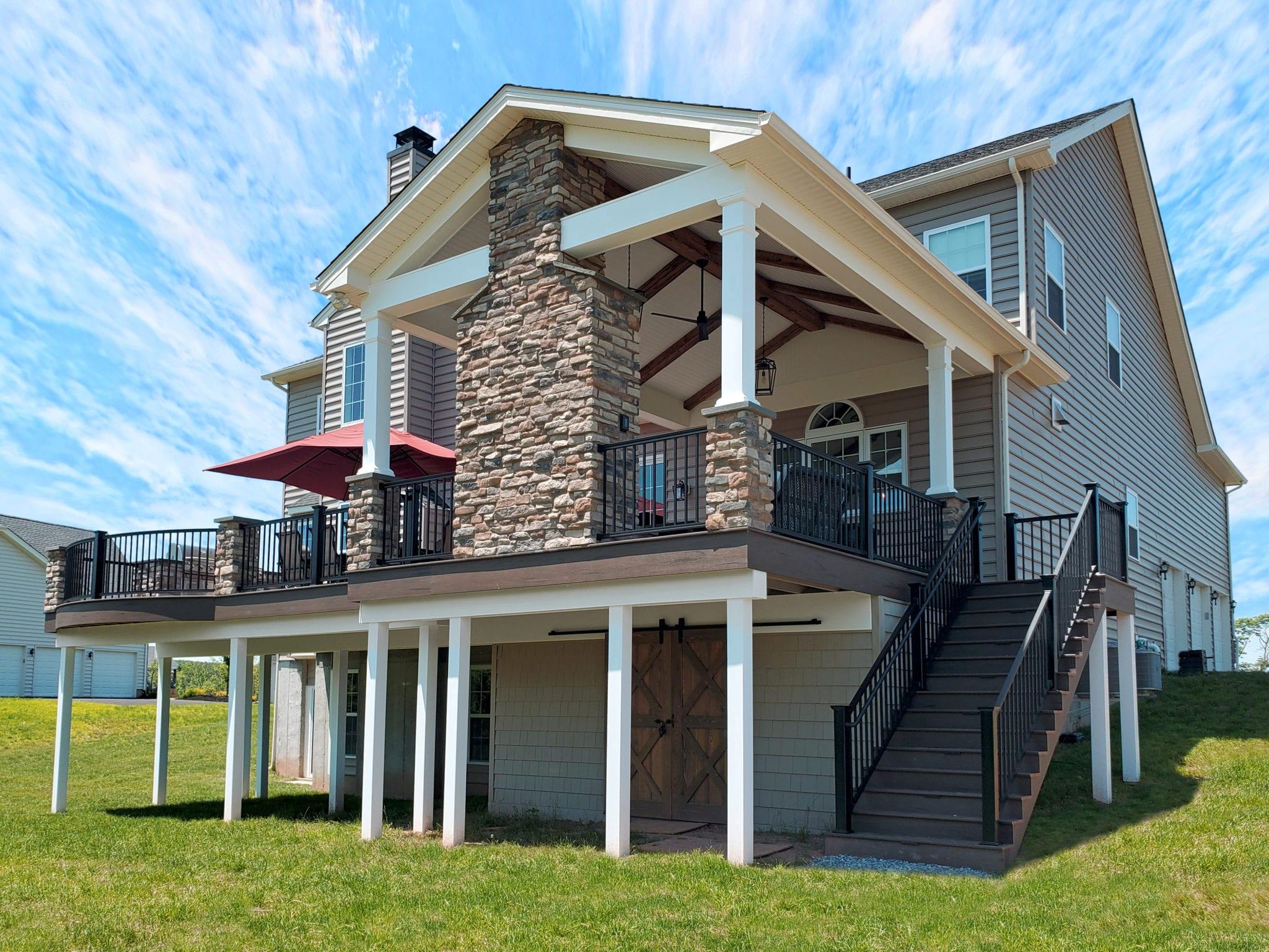 Barnwood Porch / Mocha TimberTech Deck - Furlong, PA 1