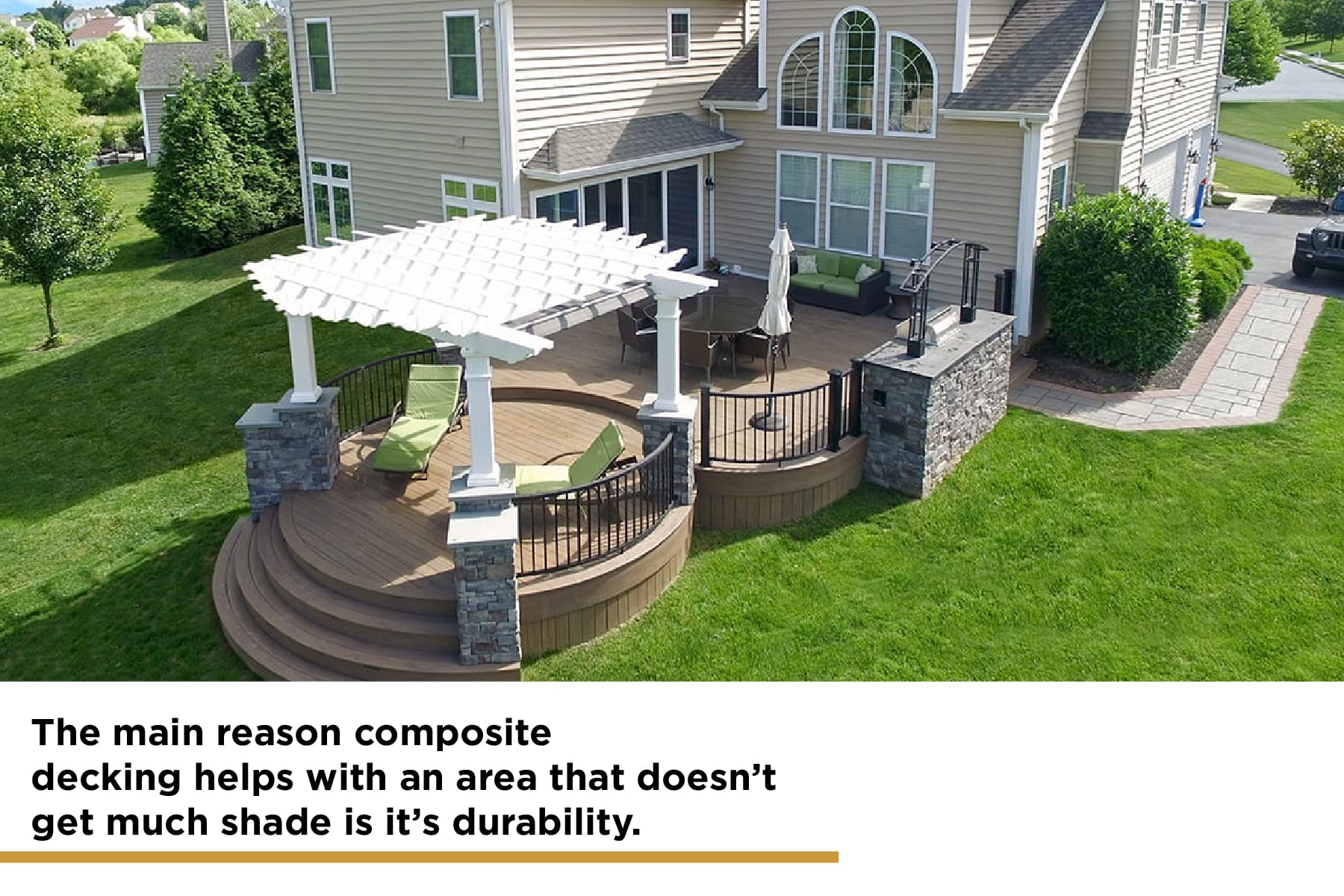 composite decking is very durable and needs less shade