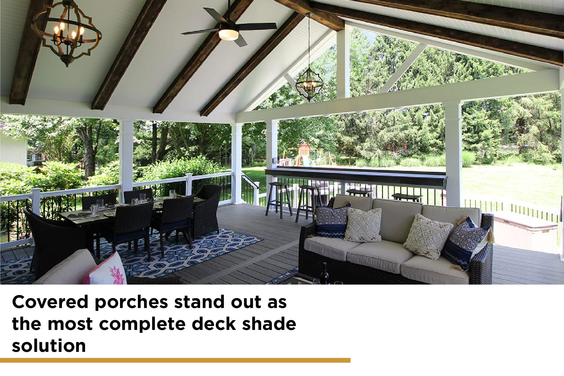 covered porches are the most complete deck shade solution