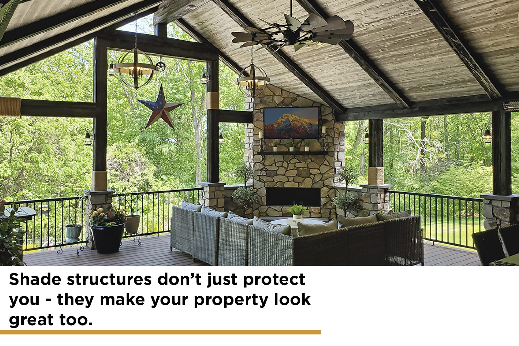 shade structures protect your deck and make your property look great