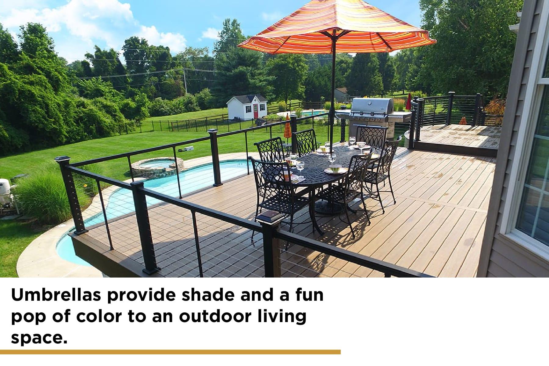 umbrellas are a shade option for decks