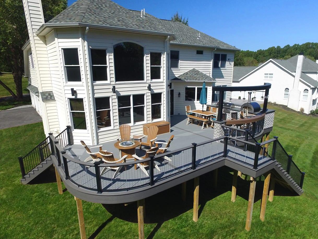 Curved TimberTech Deck / Outdoor Kitchen - Glen Mills, PA 1