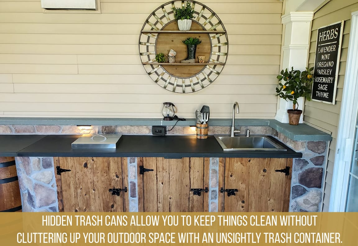 keep your outdoor kitchen clean with hidden trash cans