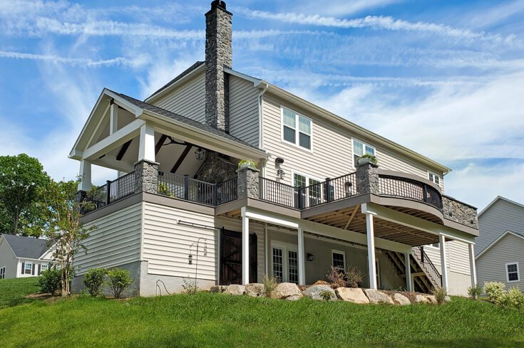Barnwood Porch With Natural Stone / TimberTech Deck – West Chester, PA